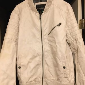 White Leather Jacket from Express